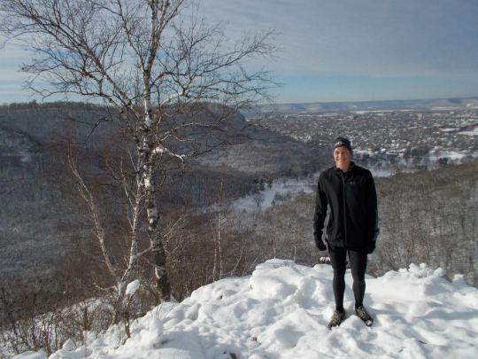 Borst on one of the many bluffs overlooking La Crosse