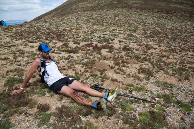 Sandor slacking off in the vicinity of Hope Pass. Photo courtesy of the Leadville Race Series